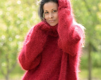 New Hand Knit Mohair Sweater RED Oversized Fuzzy Turtleneck Jumper Pullover Jersey by Extravagantza