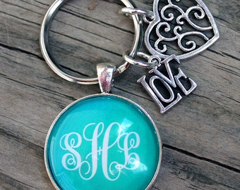 Monogram Keychain, Bridesmaid Gifts, Groomsmen, Maid of Honor, Wedding, Personalized Bridal Party, Wedding Party, Unique, Charms