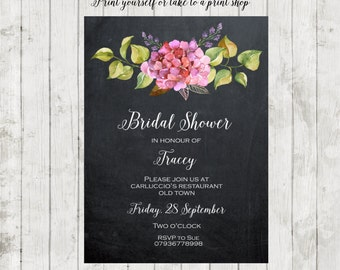 Printable bridal shower invitation, digital bridal shower invitation, chalkboard bridal shower, floral bridal shower invitation, you print