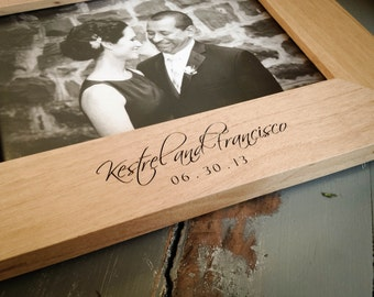 8x10 Personalized Picture Frame. Engraved Wood Frame. Wedding. Anniversary. New Baby. Pet Memorial.
