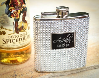 Personalized Flask, Custom Flask, Engraved Flask, Medallion Hip Flask, Crystal Bling Flask: Lady's Flask, Bridesmaid Gift, Flask for Her
