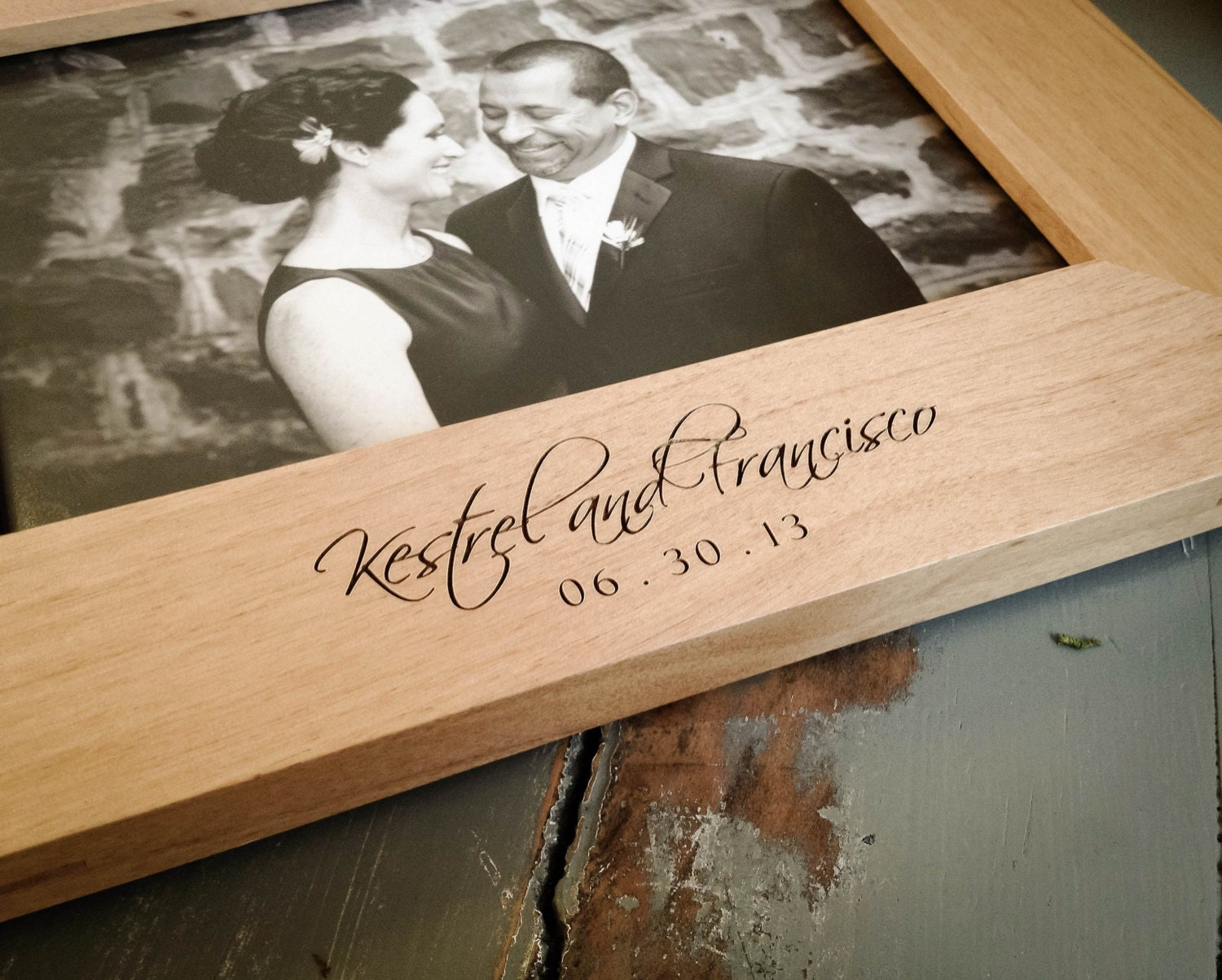 8x10 Personalized Picture Frame Engraved Wood Frame Wedding