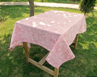 "Coral table cloth, lace print, 1"" hem border, 100% cotton table cloth, sizes available"