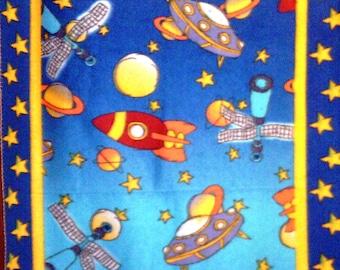 SALE Spaceship Rocket Fleece Throw Stars Satellite Planet