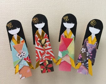 Handmade Origami Doll Clothespins