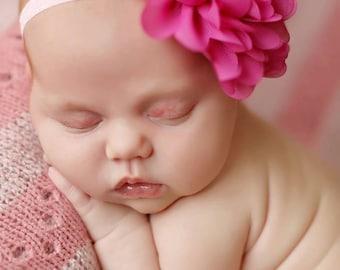 Mae in Berry Flower on Light Pink Headband, Beautiful Newborn Photo Prop,  Toddler Headband, Baby Headband, Newborn Photo Prop