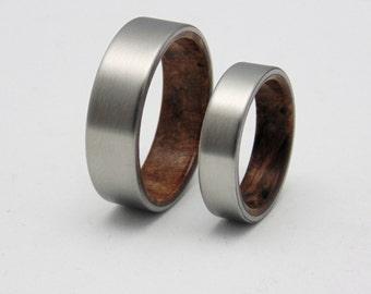 Wedding band set Koa wood and Titanium Matching titanium and