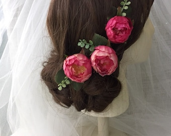 Wedding hair accessory, pink wedding accessories, pink wedding hair pins, bridal, hair accessory, flower hair pins, pink,