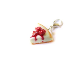 Cherry Cheesecake Charm, Miniature Food Jewelry, Polymer Clay Cake, Cake slice Jewelry, Polymer Clay Cheesecake Pendant