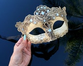 Venetian Goddess Masquerade Mask Made of Resin, Paper Mache Technique with High Fashion Macrame Lace & Diamonds [Ivory]