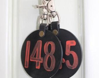 Large Hotel Room Key Holder/ Vintage Inspired/ Black Round Tag