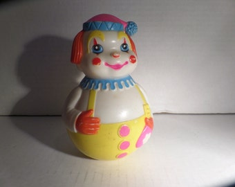 Vintage Roly Poly Wobble Toy Clown Musical