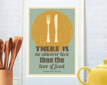 Kitchen quote, Kitchen print, Retro poster, Minimalist art, Fork, Knife, Plate, George Bernard Shaw quote, Food art, Literary quote