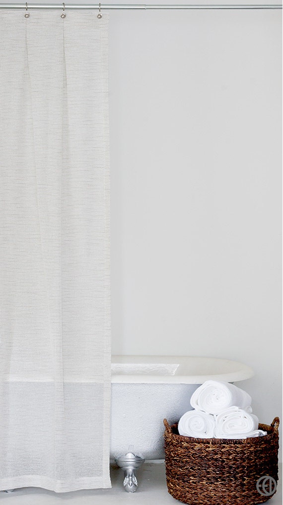 White And Grey Fabric Shower Curtain In Standard And Extra