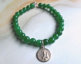 Antique medal 925 sterling Silver & Jade bracelet