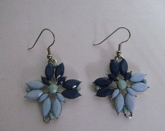 Multi blue dangle earrings,  blue earrings , green dangle earrings , dark blue earrings , marquee earrings