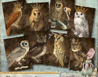 """Royal Owls - 2.5x3.5"""" Cards/Tags/Labels - Digital Collage Sheet (049) - Printable, instant download"""