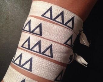Set of 5 Delta Delta Delta-Themed Fold Over Elastic Hair Ties or Headbands