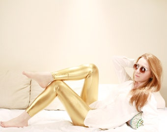 METALLIC GOLD LEGGINGS  Wet Look Skin Tight Leggings / Bright Gorgeous Club Pants/ Sexy Pants Bottoms/ Shiny Leggings / Dance clothes dfb22