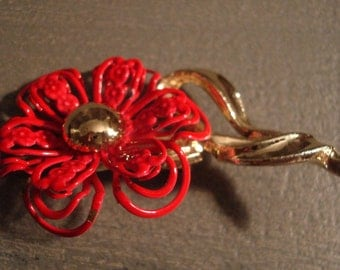 Vintage Hot Pink Enamel & Gold Tone Metal Flower Brooch - Costume Jewelry - Groovy!!