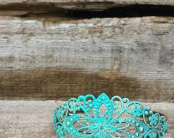 Antique Bronze Turquoise Filigree Cuff Bracelet