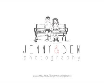 CLEARANCE - Watercolor Children on Bench Business Logo - Watercolor, Children, Wedding, Kids, Newborn Logo, OOAK,  drawing, Photography