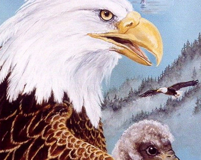 ACEO- LIMITED EDITION Print; Eagle and young, run of 10, nature, wildlife, mountains, wilderness, 100 lb art paper,