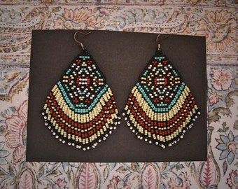 Desert Dweller..Beaded Fringe Earrings Native American Inspired