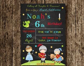 Boy Princess knight  chalkboard invitation - chalkboard invitation - princess knight invitation - princess invite - boy knight invitation