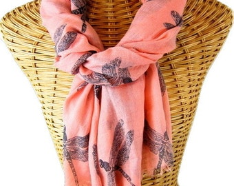 Coral Organic Cotton Dragonfly Scarf
