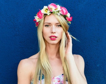 Flower-Crown with pink and white Poppies Festival Hippie Boho Style