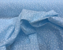 Small white paiste flowers BLUE poly cotton fabric cotton mix quilting, patchwork crafts summer party dress making FABRIC - by the yard