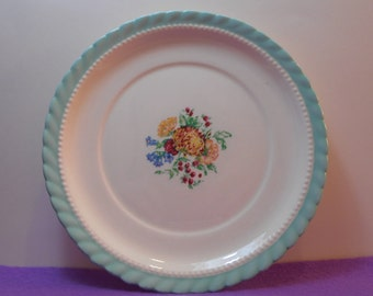 Monticello Steubenville For Herman C. Kupper Aqua Blue Floral Salad Plate