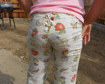 Vintage 70s Lace UP Bell Bottom Pants Butterflies Strawberries Insects Animals XS
