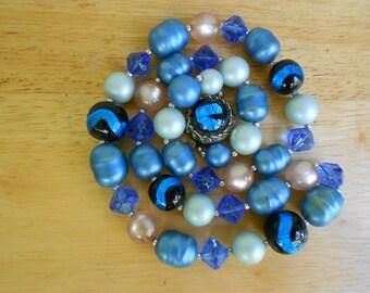 Vintage 60s Blue Foil Art Glass Beaded Necklace
