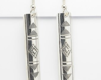 Vintage Earrings Sterling Silver Native American Navajo Etched Dangle Begay Long