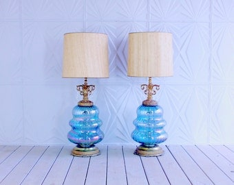 Pair Hollywood Regency Large Blue Glass Brass Gold Lamps with Crystals Retro 50's 60's Mid Century Table Iridescent
