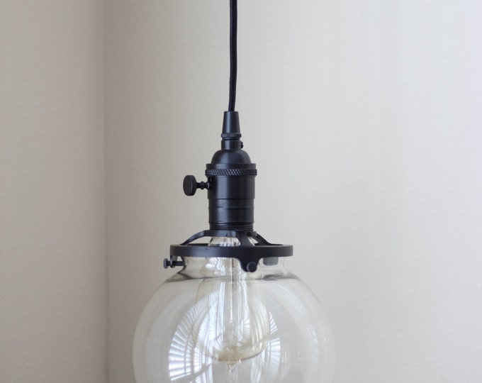 """Free Shipping! Pendant Lighting Black Socket - 6"""" Clear Glass Globe - Cloth Wire - Plug In or Ceiling Canopy Mount - Edison Bulb Compatible"""