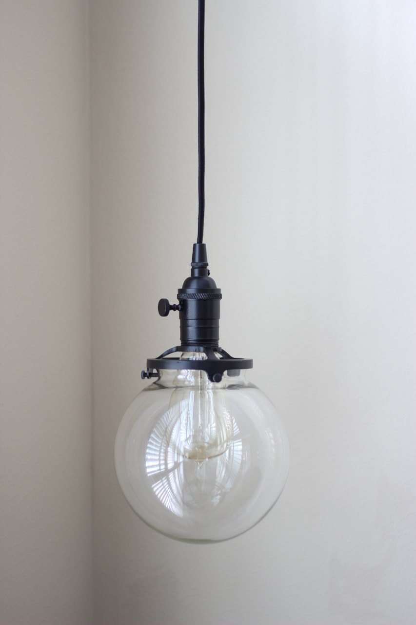 Pendant lights illuminatevintage pendant lighting black socket 6in clear glass globe cloth wire plug in mozeypictures Gallery