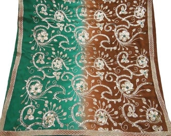 Used Scarf Indian Brown Dupatta Vintage Clothing Embroidered Fabric Dress making Sequins Fabric Vintage Long Stole DP19064
