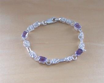 925 Amethyst Bracelet/ Sterling Silver Celtic Knot Bracelet/Amethyst Jewelry/Amethyst Jewellery/Amethyst Jewelery/February Birthstone