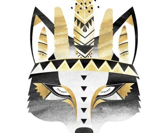A4, A3, 8x10, 11x14 Mustard Boho Wolf. Watercolour / Digital print