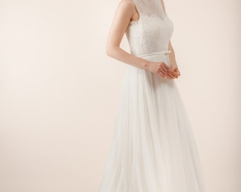 Lace wedding dress, bridal dress, lace back wedding dress, sheer back wedding dress, Sleeveless dress with French Chantilly lace -- A302