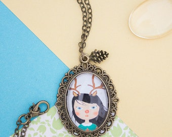 Deer girl necklace