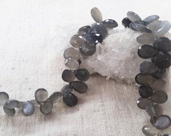 """Grey Moonstone Drop Flat Beads Approx. 6x8-9x12mm, 8.5""""L"""