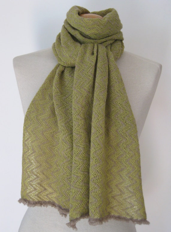 Handmade cashmere scarf/ knitted cashmere scarf/ lime cashmere