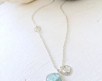 Personalized Initial Necklace,Erinite Necklace,925 Sterling Silver Sanddollar Necklace,Aquamarine,Initial,Beach Wedding,Bridesmaid Gift