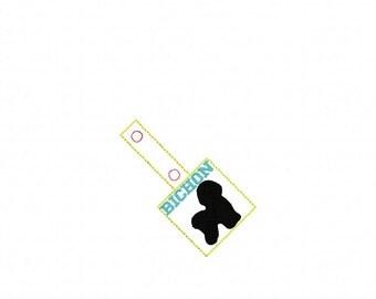 BICHON - Bichon Frise - In The Hoop - Snap/Rivet Key Fob - DIGITAL Embroidery Design