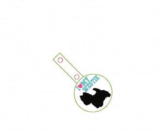 I Love My WESTIE - Western Highland Terrier - Dog In The Hoop - Snap/Rivet Key Fob - DIGITAL Embroidery Design