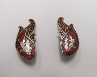 Vintage Sterling Silver Enameled Siam Earrings Item W-#466